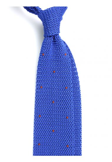 Cravatta a maglia AMALFI pois - Blu Avion/Marrone