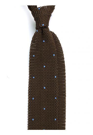 Cravatta a maglia AMALFI pois - Verde Oliva/Celeste