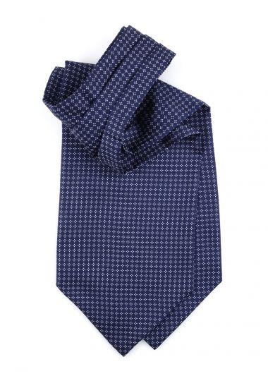 Ascot uomo AD1946 blu in seta inglese stampata