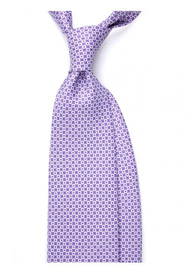 Cravatta 3 pieghe LUSSO AD1903 in seta inglese stampata VIOLA