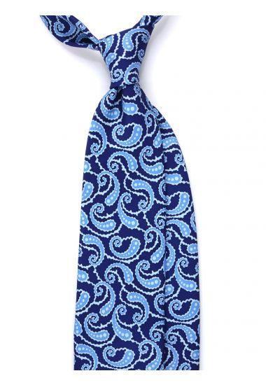 Cravatta 3 pieghe LUSSO AD2825 in seta inglese stampata BLU
