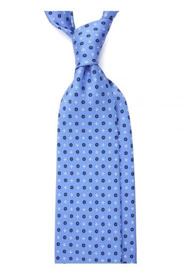 Cravatta 3 pieghe LUSSO AD2827 in seta inglese stampata CELESTE