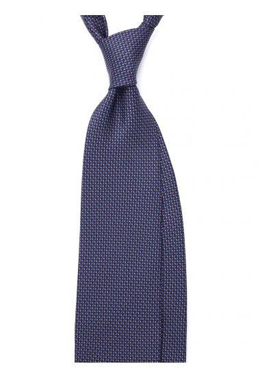 Cravatta 3 pieghe AD2833 in seta inglese stampata BLU