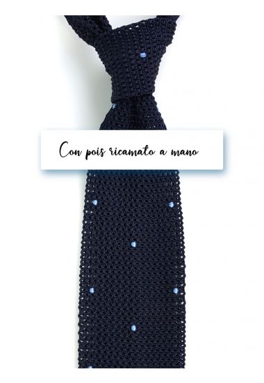 Silk super knitted ties AMALFI Blue with emboidered by hand POIS