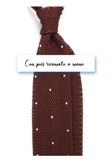 Silk super knitted ties AMALFI Brown with  emboidered by hand POIS