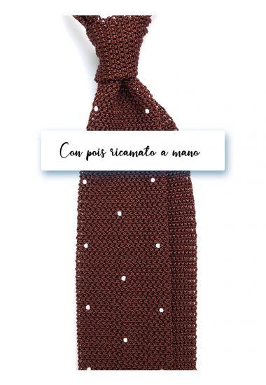 Cravatta a maglia in seta AMALFI Marrone con pois ricamato a mano