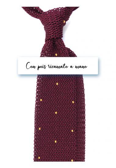 Cravatta a maglia in seta AMALFI Bordeaux con pois ricamato a mano