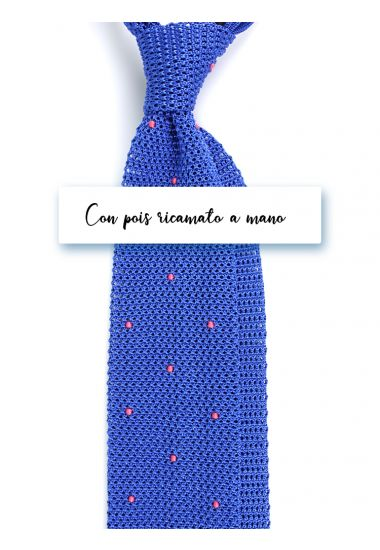 Silk super knitted ties AMALFI Royal Blue with emboidered by hand POIS