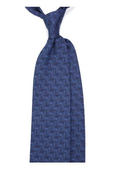Cravatta 3 pieghe AMNESIA in seta tessuta - Blu