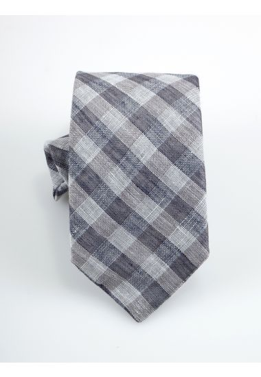 Cravatta 3 pieghe LH725  in lino_ Blu Avion