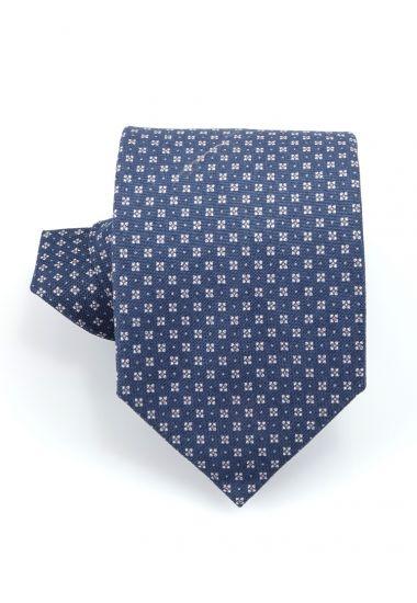 Cravatta 3 pieghe PALLINO in cotone-Blu Avion