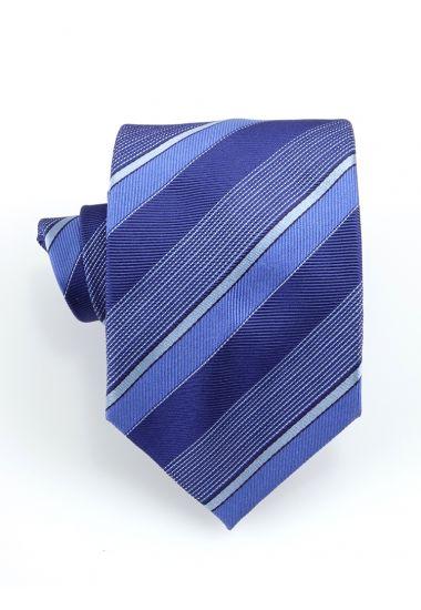 Cravatta 3 pieghe STRESA in seta-Blu
