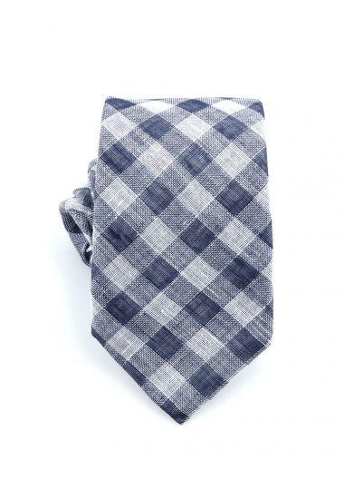 Cravatta 3 pieghe LH724  in lino_ Blu
