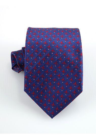 Cravatta 3 pieghe AIRPLANE  in seta_ Blu