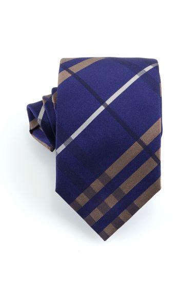 Cravatta 3 pieghe TENZIO in seta-Blu