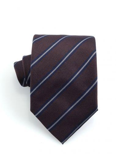 Cravatta 3 pieghe GAMMA in seta-Marrone