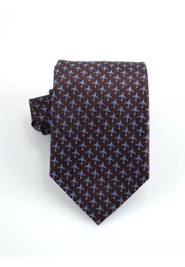 Cravatta 3 pieghe AIRPLANE  in seta-Marrone