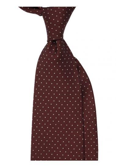 Cravatta 3 pieghe LUPOIS in seta-Marrone