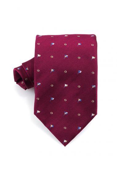 Cravatta 3 pieghe FLAG  in seta-Bordeaux