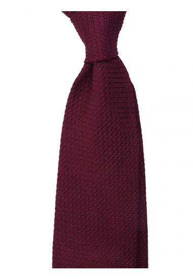 Cravatta 3 pieghe RUBINO - Garza di seta -Bordeaux con impuntura a mano