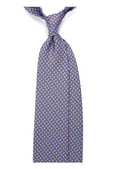 Twill Silk 3-fold necktie PINGUINO - Grey