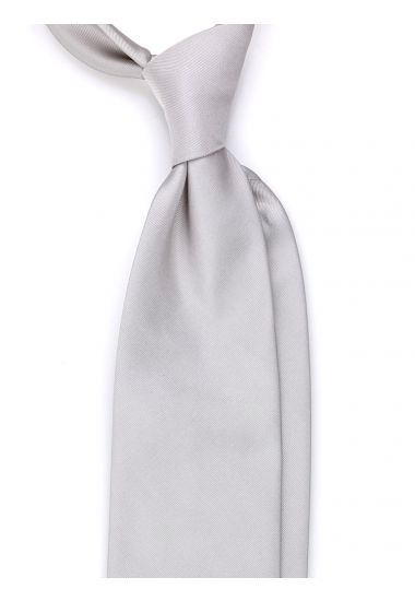 Cravatta 3 pieghe OLBLIQUE in seta TESSUTA - Grigio chiaro