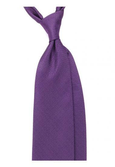 Cravatta 3 pieghe GESIO in seta TESSUTA - Viola