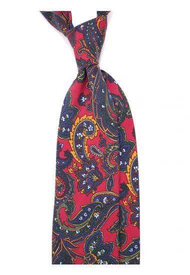 3-fold necktie MIRA madder silk-RED