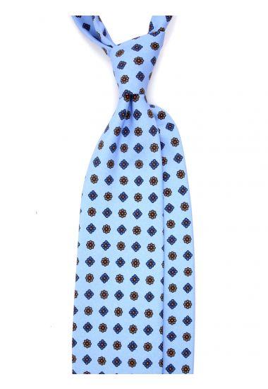 Cravatta 3 Pieghe SALONICCO Seta madder-Celeste