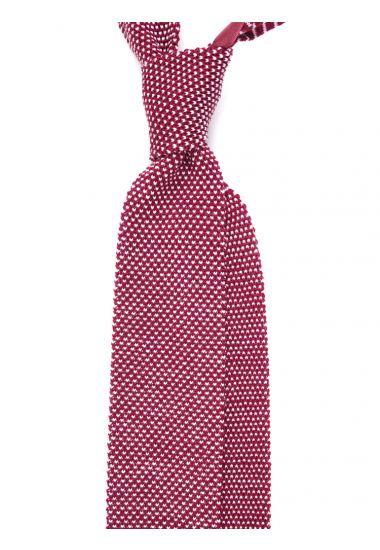 Cravatta a maglia di lana MODO-Bordeaux/Bianco