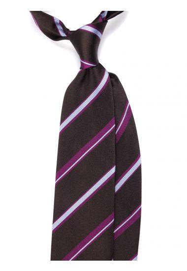 Woven SIlk 3-fold necktie DOGI - Brown