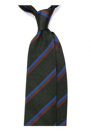 Cravatta 3 pieghe DOPPIA in seta tessuta - Verde