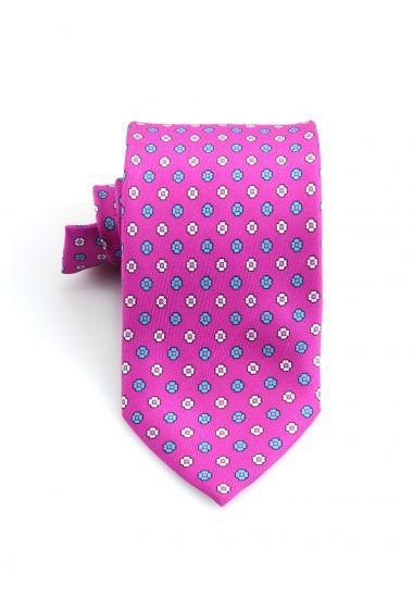 Cravatta 3 pieghe PRIMAVERA in seta twill _Fucsia