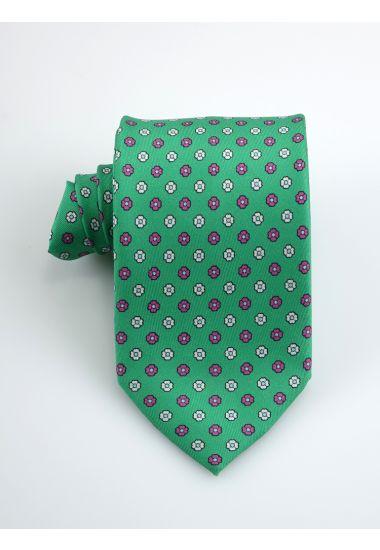 Cravatta 3 pieghe PRIMAVERA in seta twill _Verde