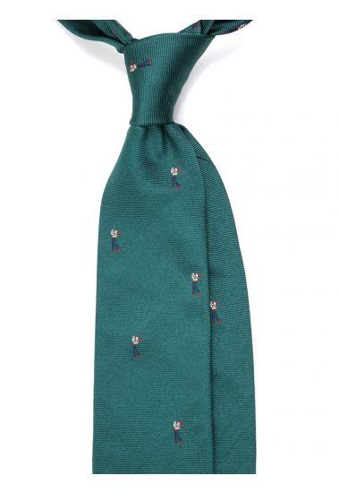 Cravatta 3 pieghe GOLF  in seta tessuta - Verde
