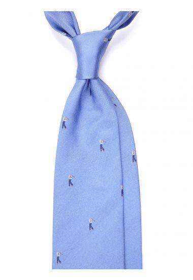 Cravatta 3 pieghe GOLF  in seta tessuta - Celeste