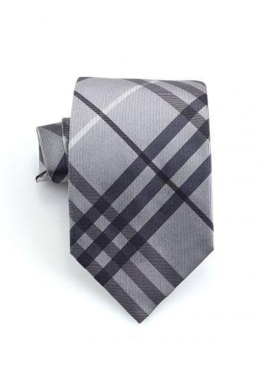 Cravatta 3 pieghe TENZIO in seta-Grigio