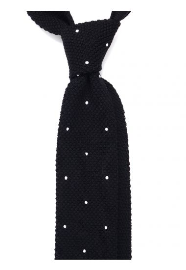 Wool super knitted ties LAMBRA Black with emboidered by hand POIS