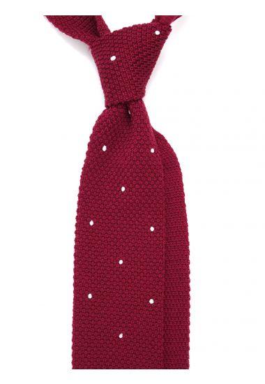 Cravatta a maglia in lana merinos LAMBRA Bordeaux con pois ricamato a mano