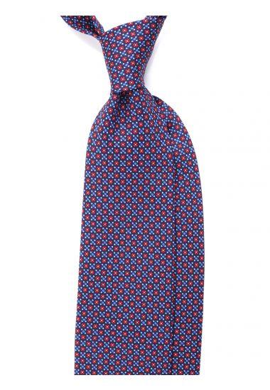 Cravatta 3 pieghe seta lusso stampata LX751-Blu