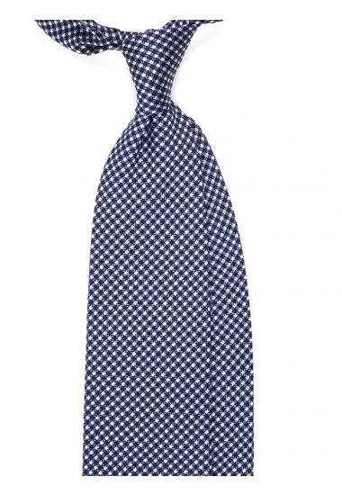 Cravatta 3 pieghe MANTRA in seta tessuta-Blu