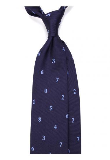 Cravatta 3 pieghe NUMERI  in seta tessuta _Blu