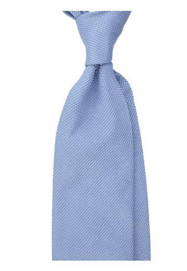 Cravatta 3 pieghe ONICE - Garza di seta -Celeste con impuntura a mano