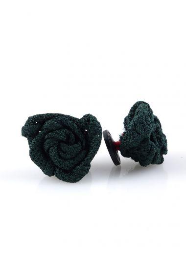Button lapel flower ONICE - Grenadine silk-Green