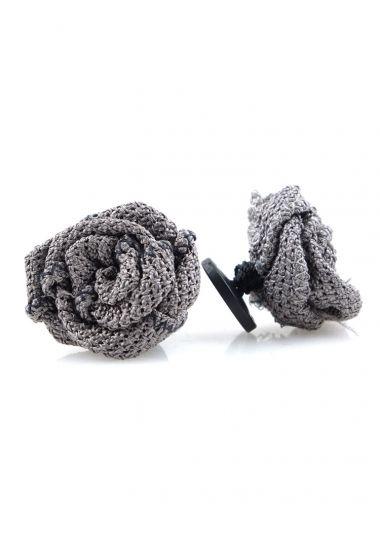 Button lapel flower ONICE - Grenadine silk-Grey