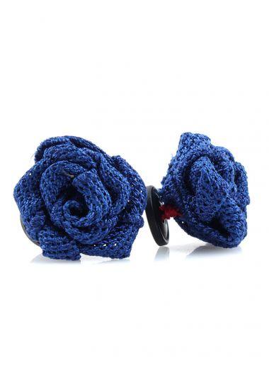 Button lapel flower ONICE - Grenadine silk-Royal blue