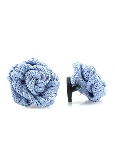 Button lapel flower ONICE - Grenadine silk-Sky blue