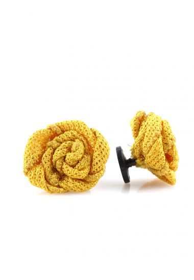 Button lapel flower ONICE - Grenadine silk-Yellow
