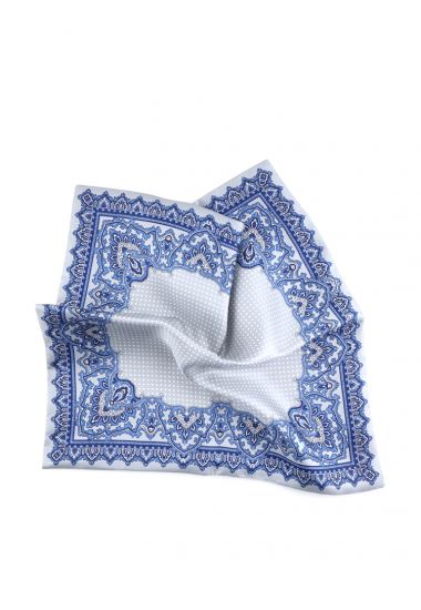 Printed silk double face pocket square BENSON