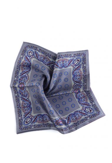 Printed silk double face pocket square MERIT